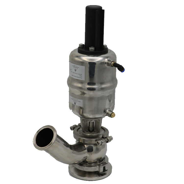 Stainless Steel Sanitary Pneumatic Tank Bottom Seat Valve 45 Elbow Type