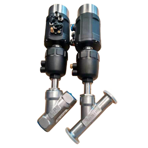 pneumatic angle seat valve with positoner