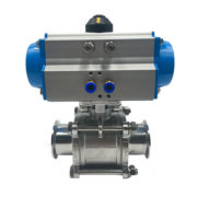Pneumatic Sanitary 3-Piece Clamp Ball Valve With Aluminum Actuator
