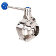 Sanitary welded butterfly type ball valve DN50 with PTFE seat