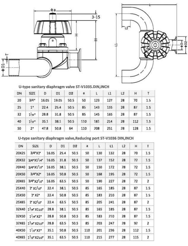 U type clamped diaphragm valves